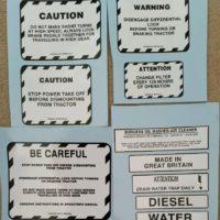 McCormick International B250 B275 B414 276 434 Tractor Warning Decal Set