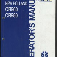 New Holland CR960 CR980 Combine Operators Manual